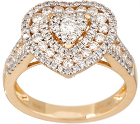 Heart Cluster Diamond Ring, 14K Gold, 1.00 cttw by Affinity