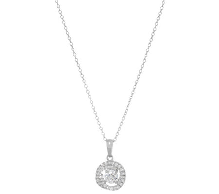 "Diamonique Love Knot Pendant with 18"" Chain, Sterling"