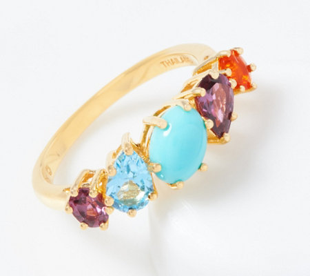 Turquoise Multi Cut Gemstone Band Ring 18k Gold Plated