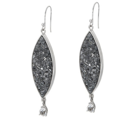 As Is Shana Gulati Diamond Slice White Topaz Sterling Silver Earrings