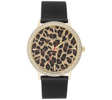 Vince Camuto Women's Black Stainless Band Leopard Watch
