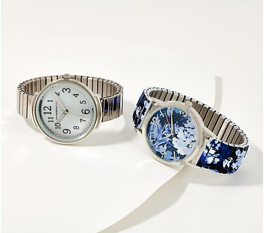 Isaac Mizrahi Live! Set of 2 Metal & Floral Print Expansion Watches