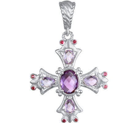 Judith Ripka Sterling & Multi-Gemstone Cross Enhancer