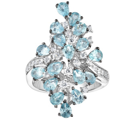 Sterling 3.00 cttw Apatite & White Zircon Cocktail Ring