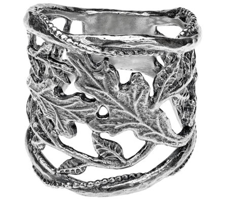 Or Paz Sterling Silver Open Leaf Graduated BandRing