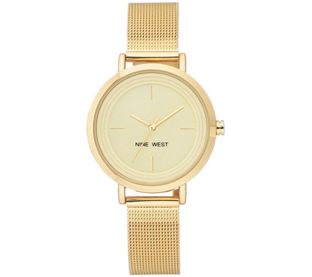 Nine West Women's Goldtone Mesh Bracelet Watch