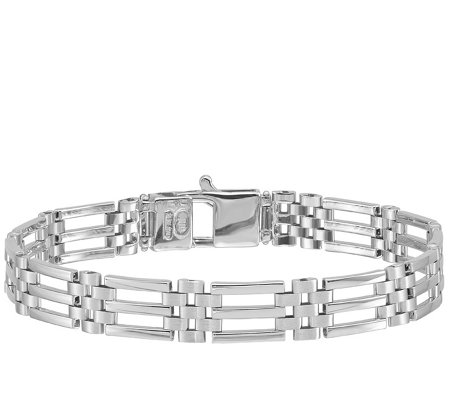 "Italian Gold Men's 8-1/4"" 14K White Gold Link Bracelet, 16.1g"
