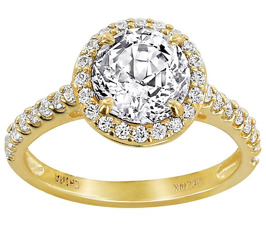 Diamonique 100-Facet Round Halo Ring, 14K Gold
