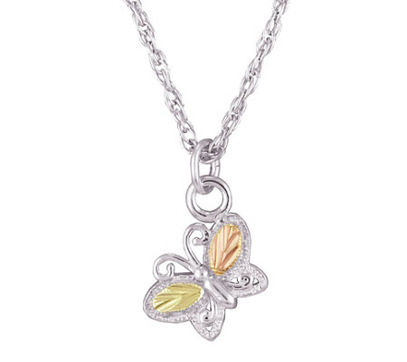 Black Hills Gold Butterfly Pendant Sterling/12K
