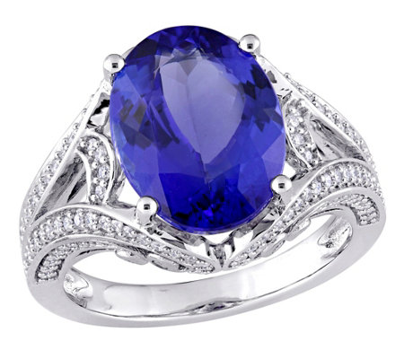 Bellini 5.35 cttw Tanzanite & 4/10 cttw Diamond Cocktail Ring