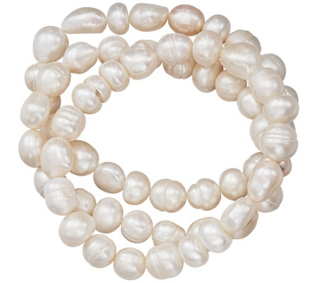 Honora Stretch Set Of 3 Cultured Freshwater Pearl Bracelets Qvc