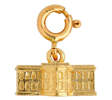 14K Yellow Gold 3-D White House Charm