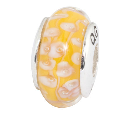 Prerogatives Sterling Yellow with White FlowersGlass Bead