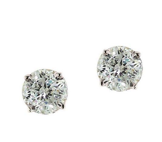 Diamonique 1 00 Ct Tw 100 Facet Stud Earrings 14k Gold Qvc Com