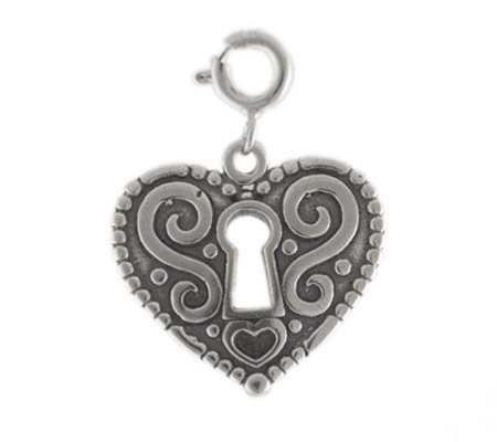 Sterling Heart Lock Charm