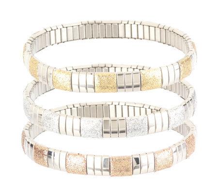 Stainless Steel Set Of 3 Glitter Bracelets
