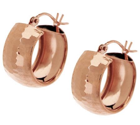 14k Gold Polished Hammered Huggie Hoop Earrings