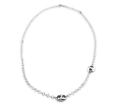 Sterling Marine Link Station Necklace, 24.5 g