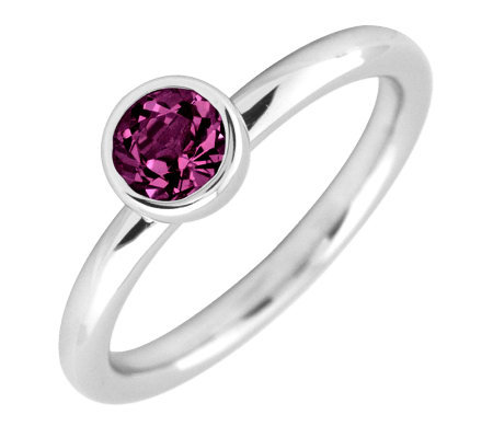 Simply Stacks Sterling 5mm Rhodolite Garnet Solitaire Ring