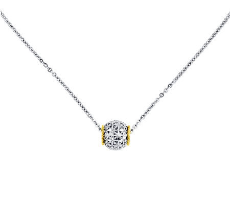 "Sterling with 14K Gold 17"" Diamond-Cut Floral Barrel Necklace"