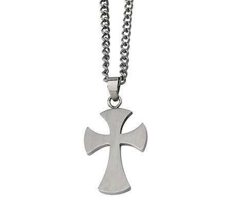 "Forza Men's Stainless Steel Brushed Cross Pendant w/ 22"" Chai"