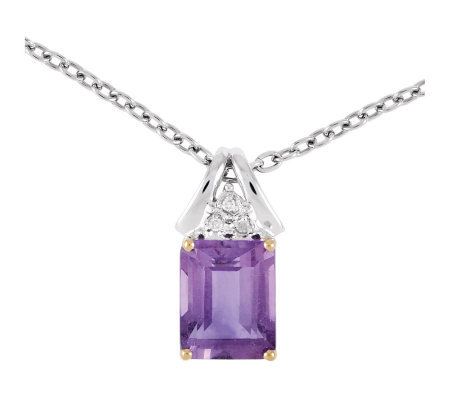 "Sterling Two-Tone 2.90 cttw Amethyst 18"" Necklace"