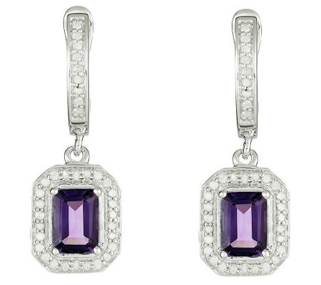 Sterling Gemstone & 1/3 cttw Diamond Earrings