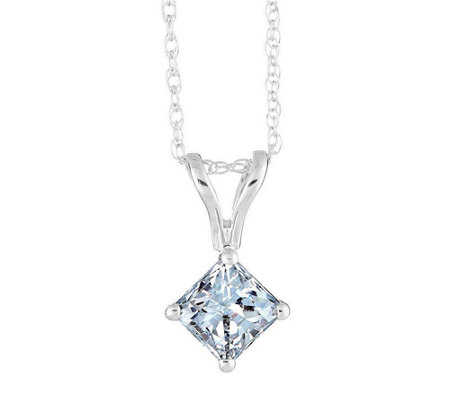 Affinity 1/4 ct Princess Cut Diamond Pendant w/Chain, 14K