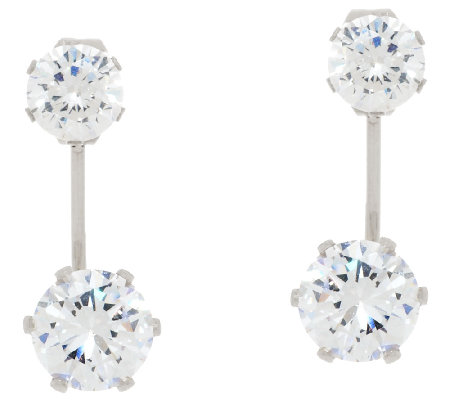 Stainless Steel Crystal Stud Earring Jackets