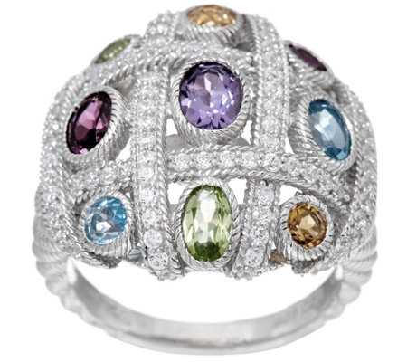 Judith Ripka Sterling Silver Multi-Gemstone Diamonique Woven Ring