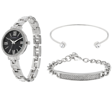 Isaac Mizrahi Live! Watch Set w/ Pave ID & Crystal Bangle