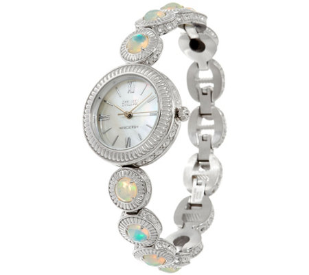 Ecclissi Facets Stainless Steel Ethiopian Opal Adjustable Watch