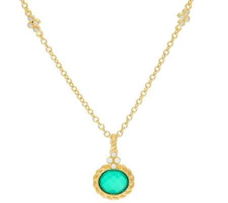 Judith Ripka 14K Clad Green Goddess Enhancer with Chain