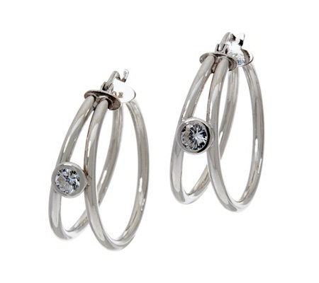 Diamonique 9/10 cttw Split Hoop Earrings, Sterling