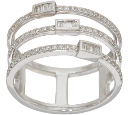 Baguette & Round Multi-Row Ring, Sterling 1/3 cttw by Affinity