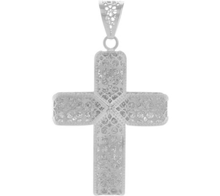 Italian gold cross pendant 14k white gold page 1 qvc italian gold cross pendant 14k white gold aloadofball Images
