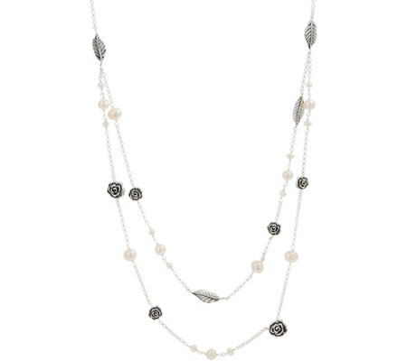 Or Paz Sterling Silver Cultured Pearl Double Layer Necklace