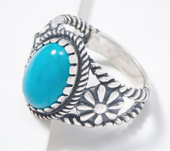 American West Oval Gemstone Sterling Silver Concha Ring - J363808