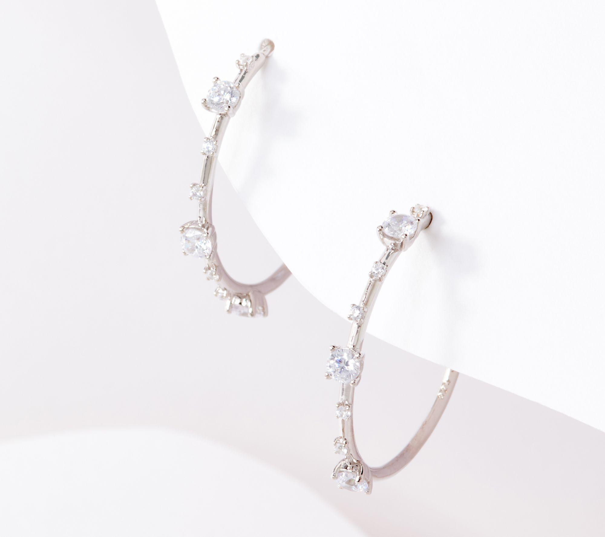 Sterling QVC Retail $114.50 TOVA for Diamonique Milgrain Detail Hoop Earrings