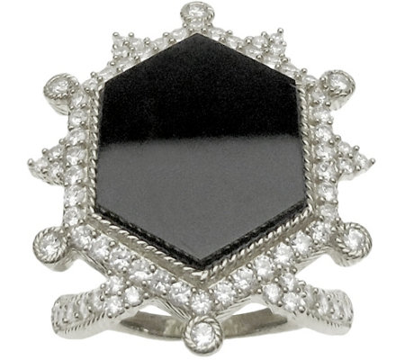 Judith Ripka Sterling Diamonique & Onyx Ring