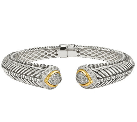 Affinty 1/2cttw Diamond Hinged Cuff, Sterling& 14K