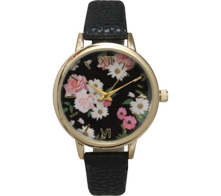 Olivia Pratt Women's Floral Dial Leather Watch