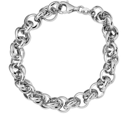 Italian Silver Interlocking Link Bracelet Sterling, 9.8g