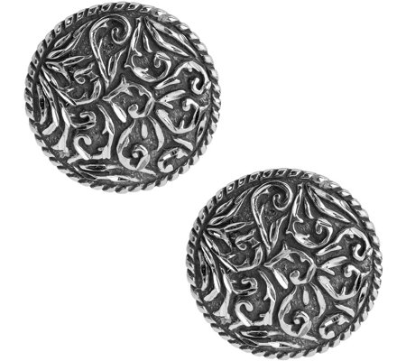 American West Sterling Diamond Cut Scroll Button Earrings