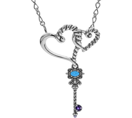 Carolyn Pollack Sterling Silver Double-Heart and Key Necklace