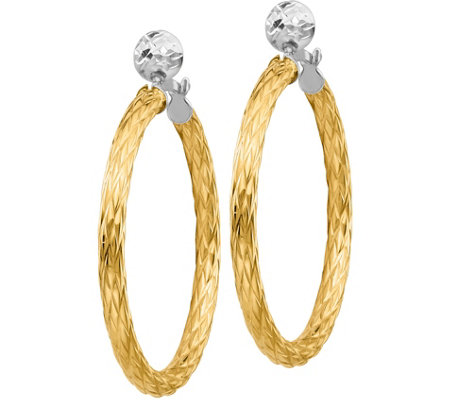 "Italian Gold 1-1/2"" Two-Tone Textured Hoop Earrings 14K, 3.0g"