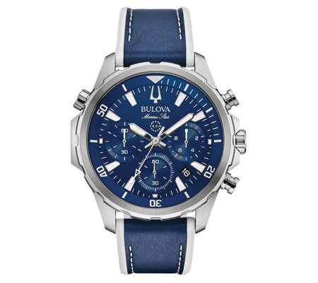 Bulova Men S Marine Star Blue Chronograph Stainless Watch