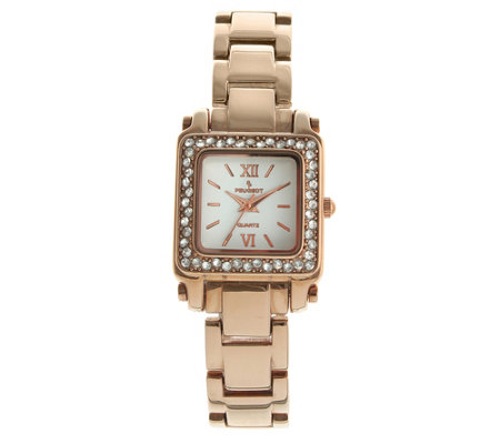 Peugeot Women's Rosetone Stainless Steel Crystal Watch