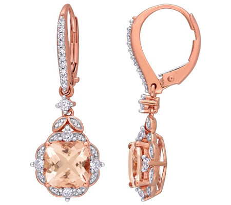 14k 3 60 Cttw Gemstone 1 7 Cttw Diamond Drop Earrings