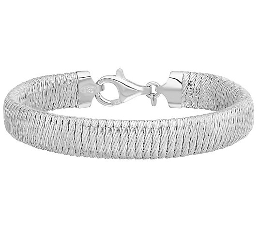 "Italian Silver 7-1/2"" Textured Ribbed Bracelet, 23.4g"